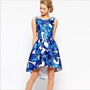 Chi Chi London blue leaf dress new 10